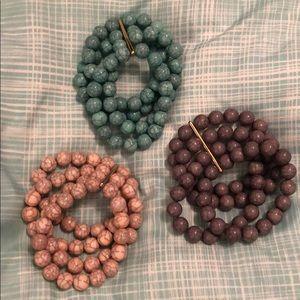 Lot of three large bead bracelets